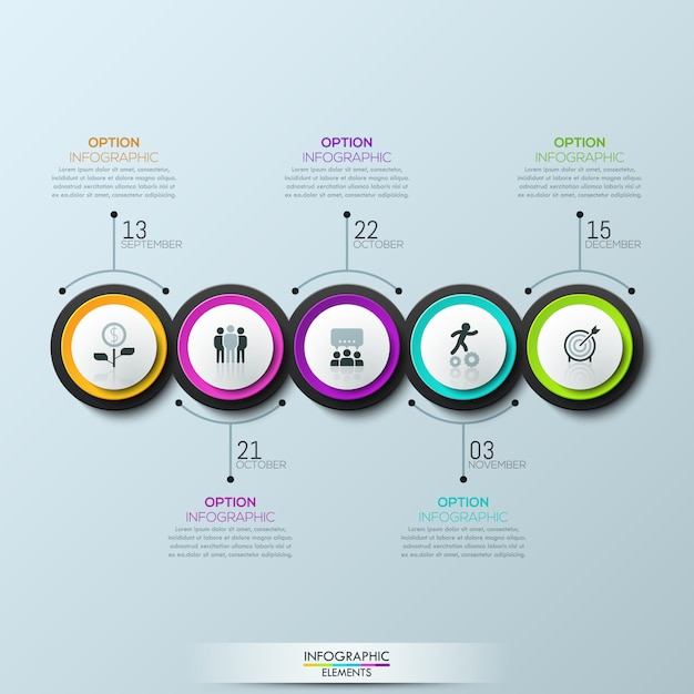 Infographie 5 éléments circulaires multicolores avec pictogrammes Vecteur Premium