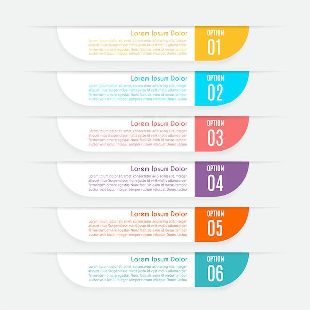 Infographie avec 6 options, étapes ou processus Vecteur Premium