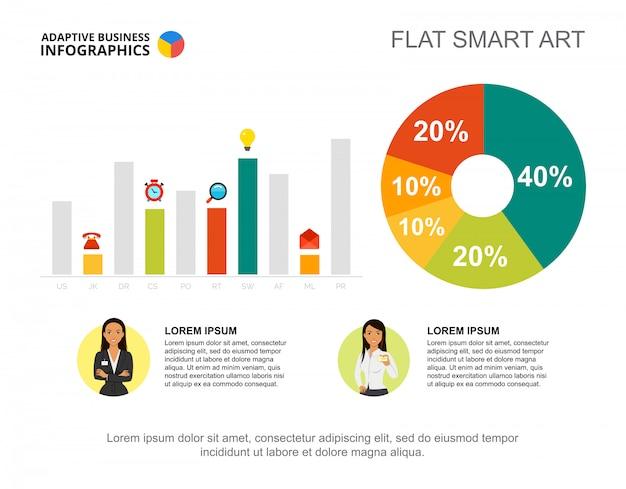 Infographie d'affaires avec graphique en pourcentage, graphique à barres et icônes de caractères. Vecteur gratuit