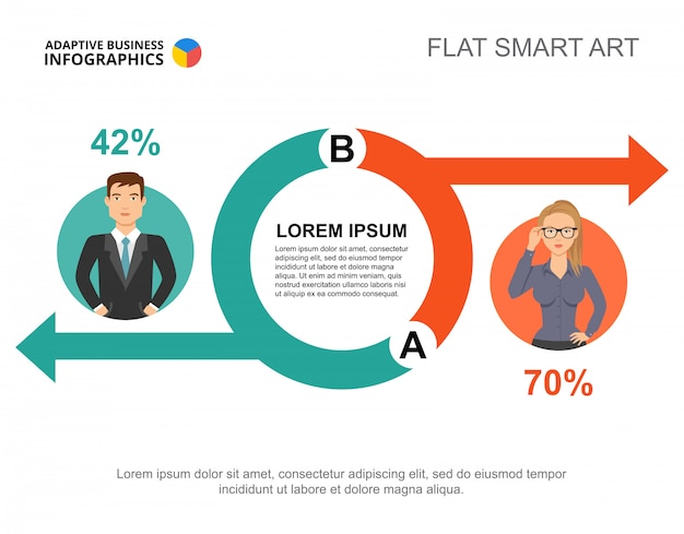 Infographie des affaires avec des icônes de cercle et les icônes de gens d'affaires. Vecteur gratuit