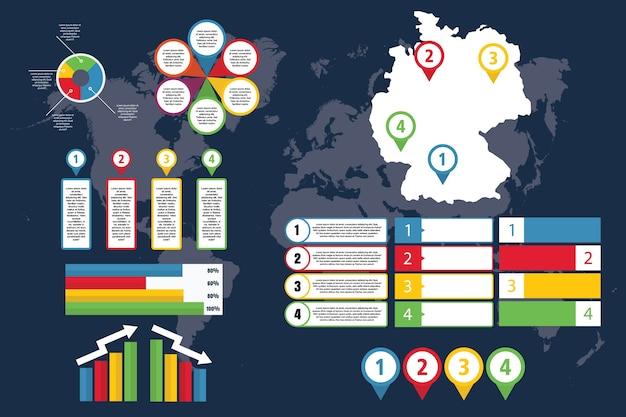 Infographie de l'allemagne avec carte pour les entreprises et présentation Vecteur Premium