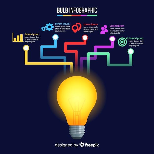 Infographie d'ampoule Vecteur gratuit