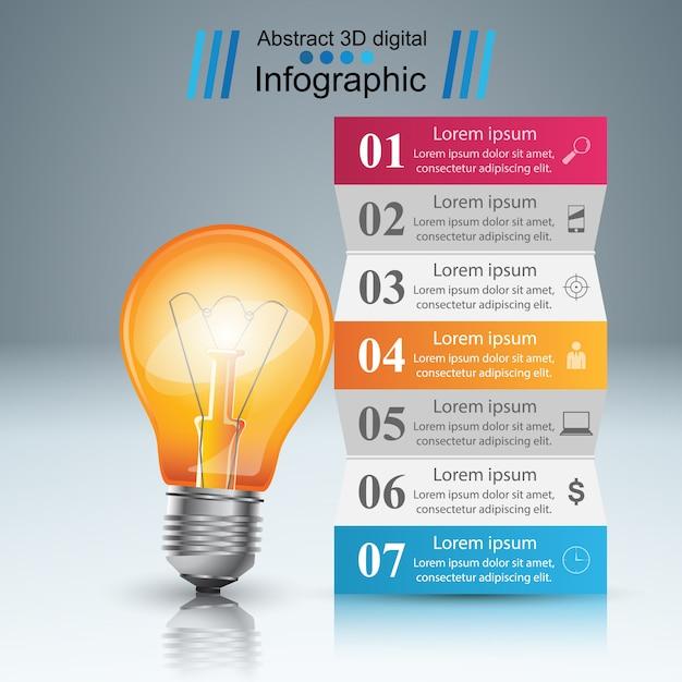 Infographie d'ampoule Vecteur Premium
