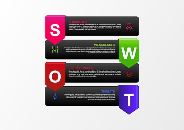 Infographie Analyse Swot Avec Design Plat De 4 Couleurs Monotones En Vecteur. Bannière D'analyse Swot Moderne Avec Carte Du Monde Vecteur Premium