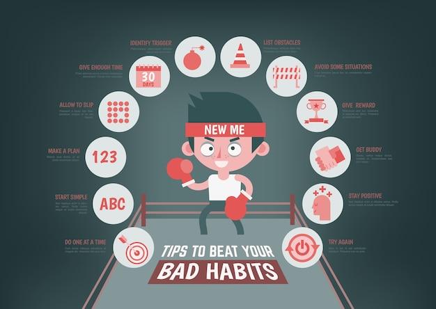 Infographie sur les astuces pour changer votre mauvaise habitude Vecteur Premium