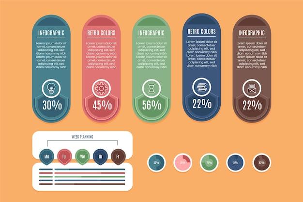 Infographie Aux Couleurs Rétro Vecteur gratuit