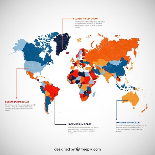 Infographie avec une carte en couleur du monde t l charger des vecteurs gra - Carte du monde en couleur ...