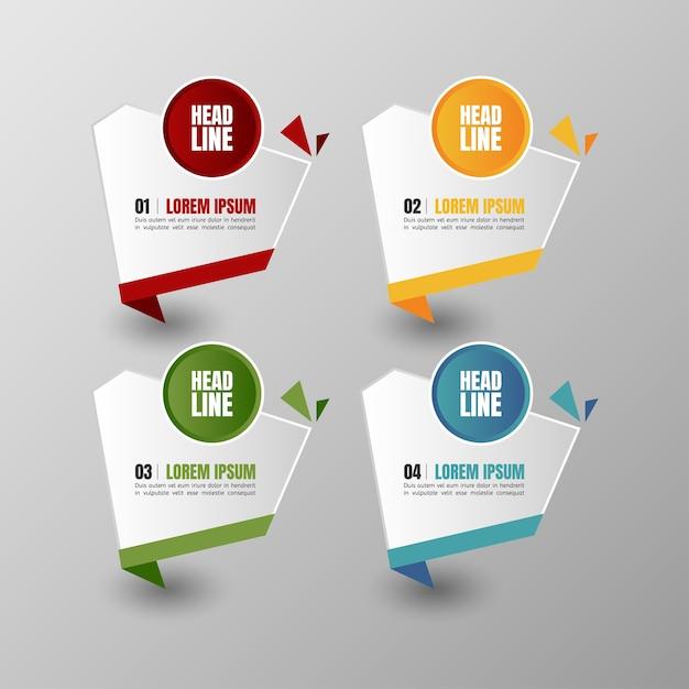 Infographie Bannières Modèle Vecteur Vectoriel Multicolore Et Zone De Texte Pour La Présentation De La Présentation. Vecteur Premium