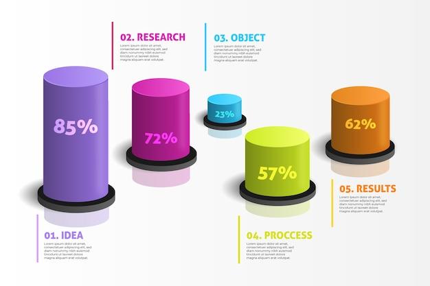 Infographie De Barres 3d Vecteur gratuit