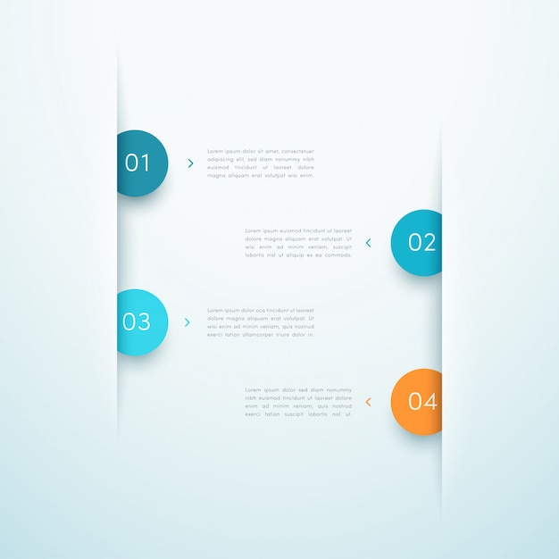 Infographie business layout design design nombre etapes 1 à 4 Vecteur Premium