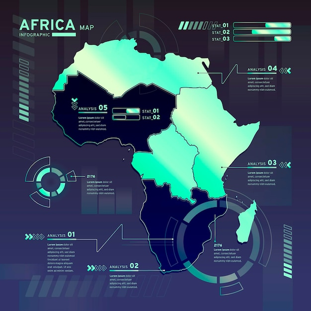 Infographie De Carte Design Plat Néon Afrique Vecteur Premium