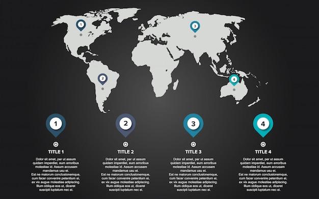 Infographie carte du monde Vecteur Premium