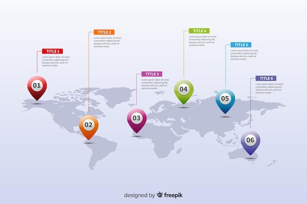 Infographie de la carte du monde Vecteur gratuit