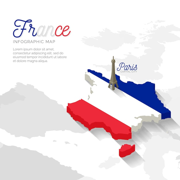 Infographie De Carte De France Isométrique Vecteur gratuit