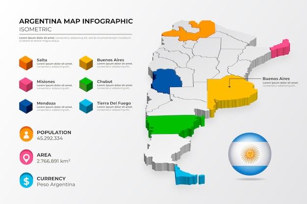 Infographie De La Carte Isométrique De L'argentine Vecteur gratuit