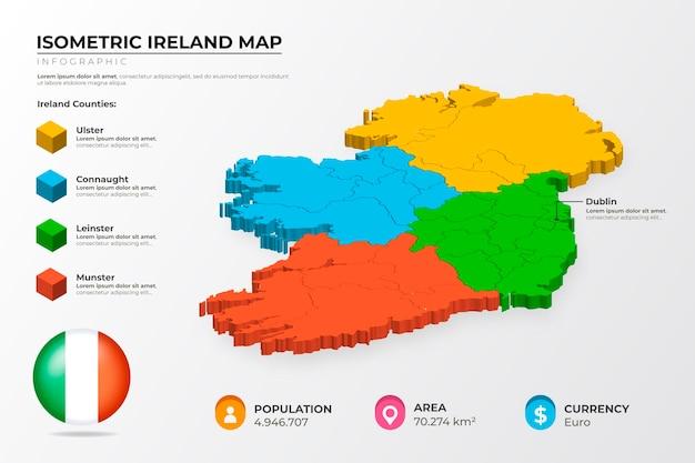 Infographie De La Carte Isométrique De L'irlande Vecteur gratuit