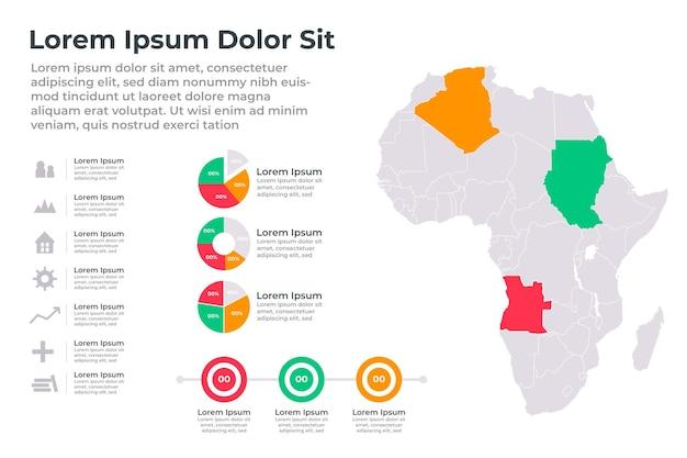 Infographie De La Carte Linéaire De L'afrique Vecteur gratuit