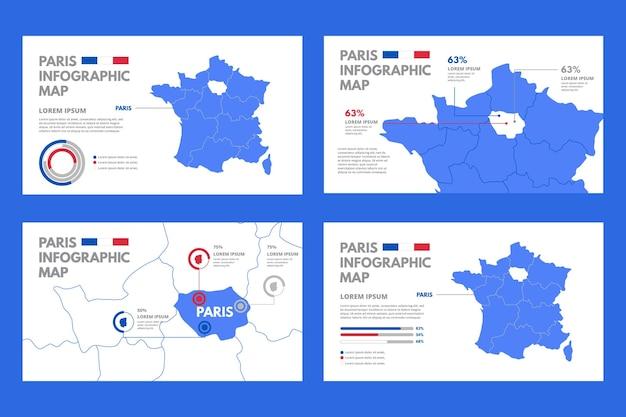 Infographie De La Carte De Paris Vecteur gratuit