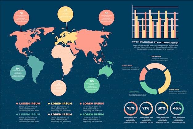 Infographie De Cartes Du Monde Plat Vecteur gratuit