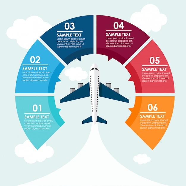 Infographie de cercle d'avion dans le ciel Vecteur Premium