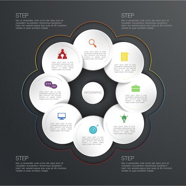 Infographie De Cercle, Illustration Avec Zone De Texte De Cercle Vecteur Premium