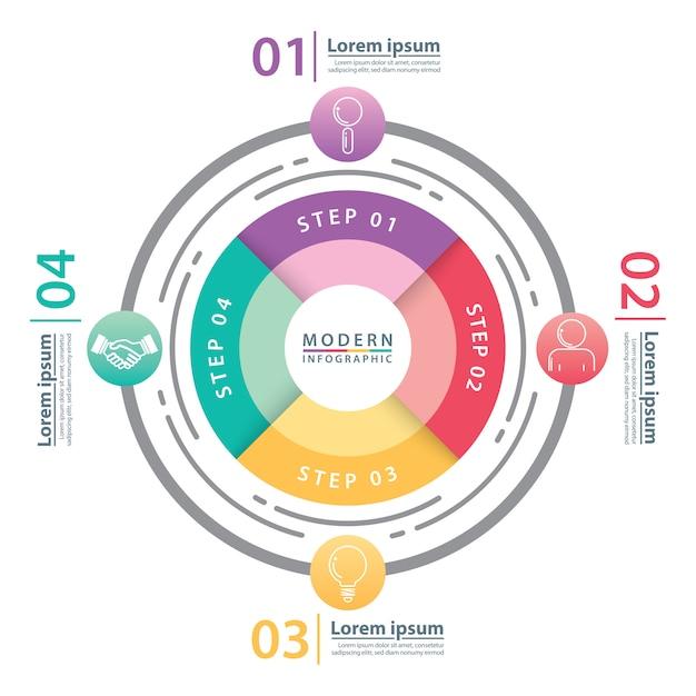 Infographie de cercle moderne. Vecteur Premium