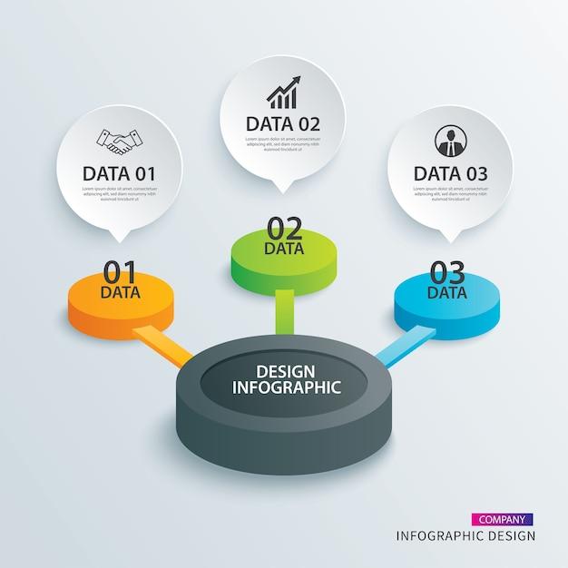 Infographie cercle papier avec 3 modèles de données. Vecteur Premium