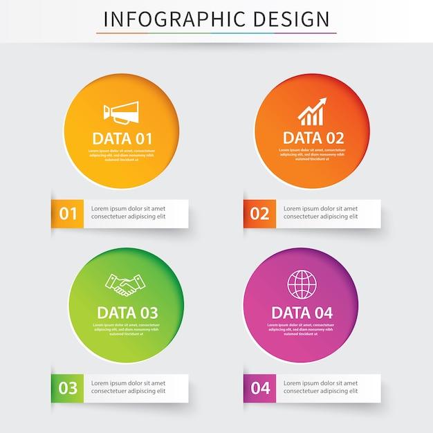 Infographie cercle papier avec 4 modèles de données. Vecteur Premium