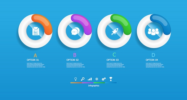 Infographie De Cercles Horizontaux 4 étapes Vector Illustration Vecteur Premium