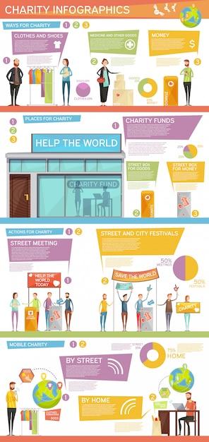 Infographie de la charité mise en page à plat Vecteur gratuit