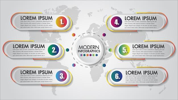 Infographie chart 6 étapes concept créatif Vecteur Premium