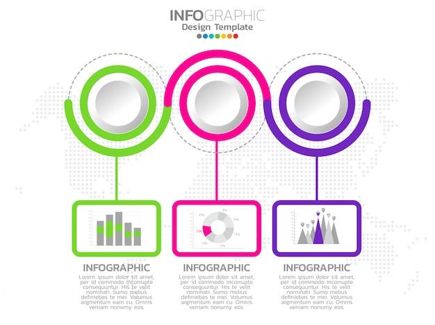 Infographie de la chronologie avec 3 étapes d'options de flèches. Vecteur Premium