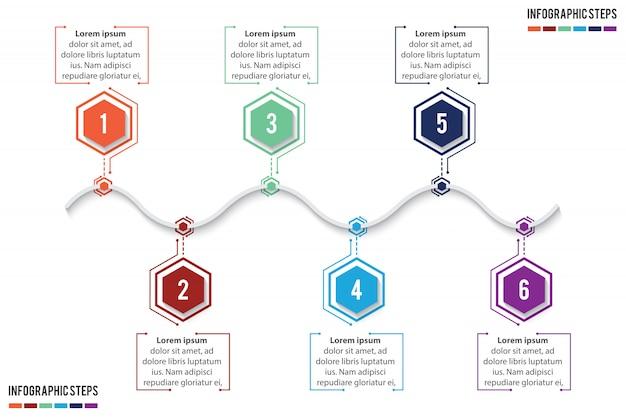 Infographie De Chronologie Colorée Avec Salon De 6 étapes Vecteur Premium