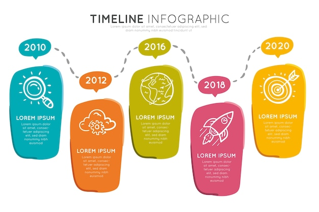 Infographie De Chronologie Colorée Vecteur Premium