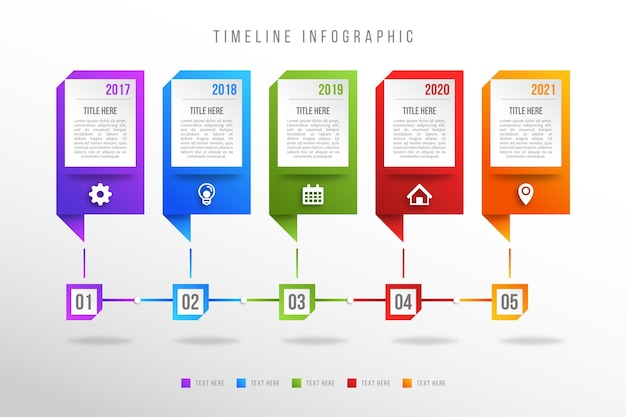 Infographie de chronologie de dégradé coloré moderne Vecteur gratuit