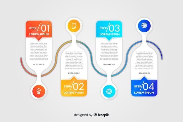 Infographie de chronologie de dégradé plat coloré Vecteur gratuit