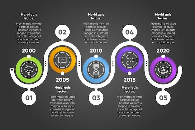 Infographie De Chronologie Avec Design Circulaire Et Lignes Vecteur gratuit