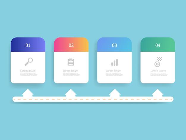 Infographie de chronologie horizontale 4 étapes pour le modèle de plan de travail Vecteur Premium
