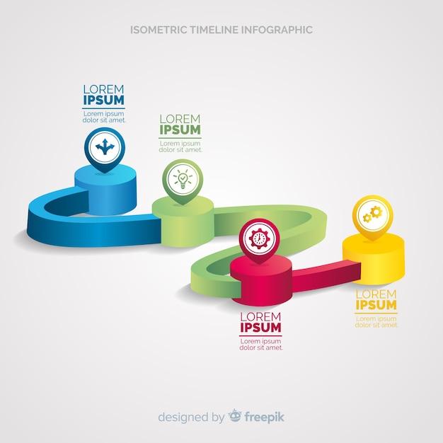 Infographie de la chronologie isométrique Vecteur gratuit
