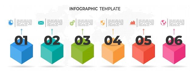 Infographie de chronologie moderne 6 options Vecteur Premium
