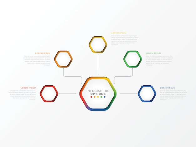 Infographie en cinq étapes avec des éléments hexagonaux. options commerciales pour diagramme, workflow Vecteur Premium