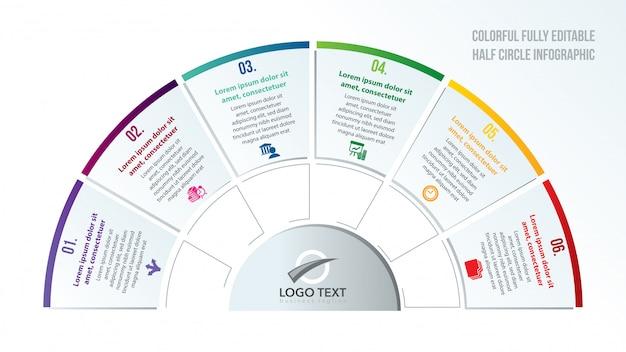 Infographie coloré demi-cercle Vecteur Premium