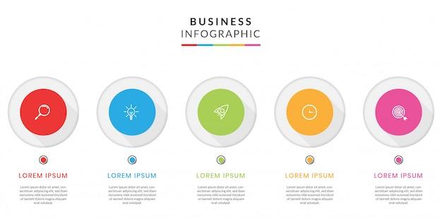 Infographie Commerciale Colorée Avec étapes Ou Options Vecteur Premium
