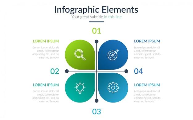 Infographie commerciale en quatre étapes Vecteur Premium