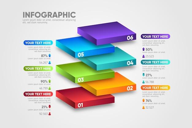 Infographie De Couches De Blocs De Conception 3d Vecteur gratuit