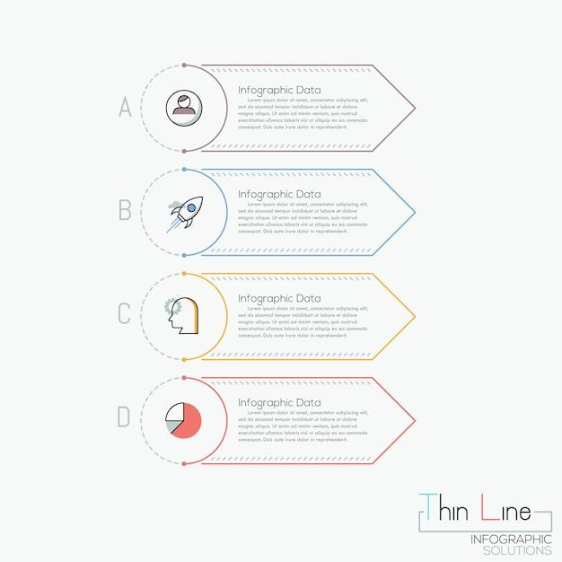 Infographie créative, 4 éléments rectangulaires multicolores avec lettres, pictogrammes et zones de texte Vecteur Premium