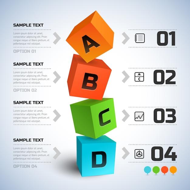 Infographie De Cubes D & # 39; Affaires Abstraites Vecteur gratuit