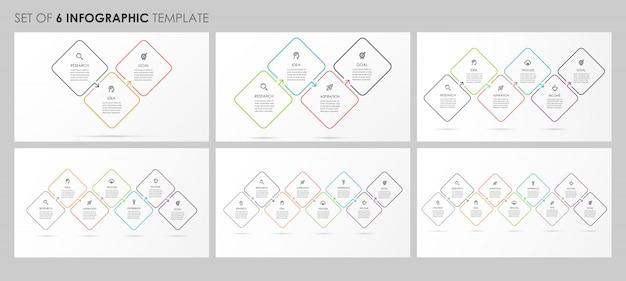 Infographie Définie Avec Des Icônes Et 3, 4, 5, 6, 7, 8 Options Ou étapes. Concept D'entreprise. Vecteur Premium