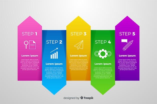 Infographie en dégradé avec différentes couleurs Vecteur gratuit
