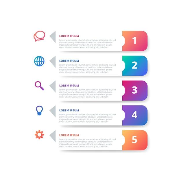 Infographie en dégradé avec étapes Vecteur gratuit